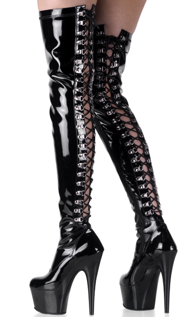 shiny black 7 inch lace back platform thigh high boots