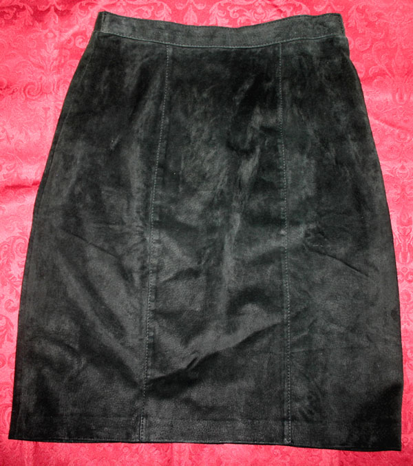 Vintage Black Suede Leather Knee Mini Skirt Medium