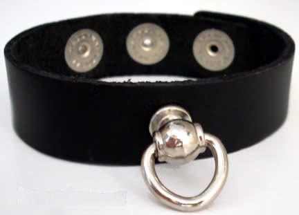 Leather Bondage D-Ring Bracelet Cuff 6-8""