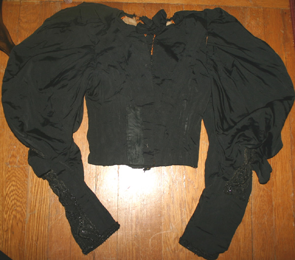 Antique Victorian Silk Black Bodice Mutton Sleeves