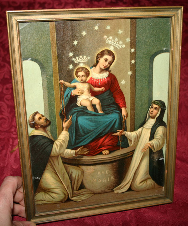 Vintage Ave Marie Mary Baby Jesus Framed Religious Print
