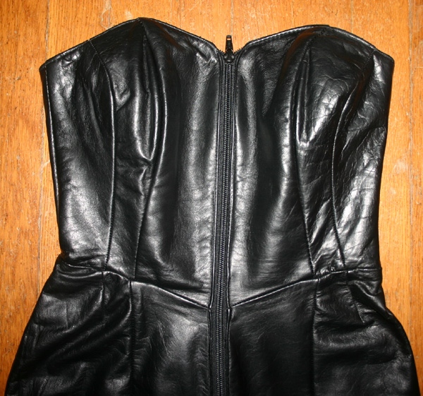 Vintage 1980s Black Skintight Leather Hobble Dress XS