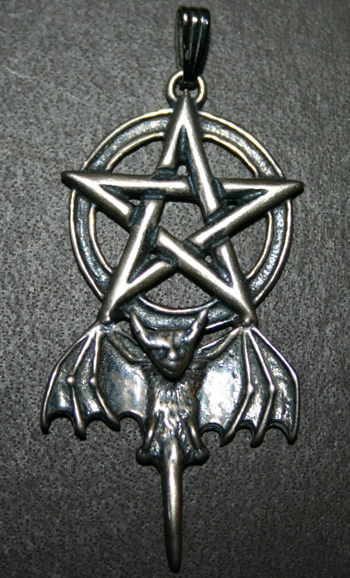 Sterling Silver Vampire Bat Pentagram Pendant