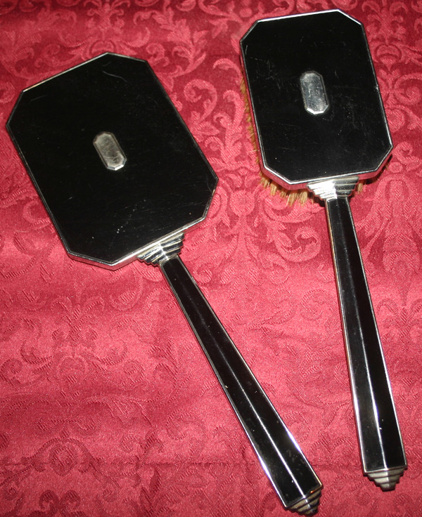 Vintage Volupte Art Deco Black Vanity Mirror Hairbrush