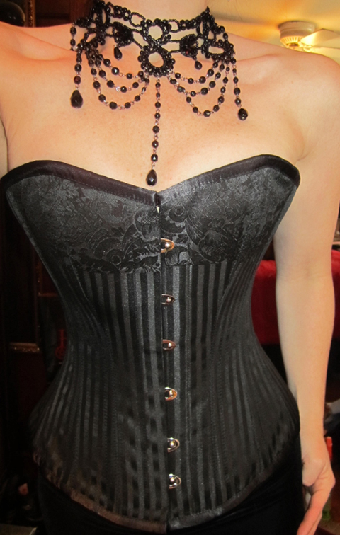 Burlesque Brocade Black Striped Steel Boned Corset 22