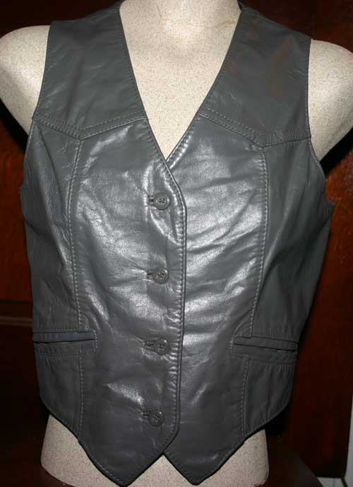 Vintage Bermans Ladies Gray Leather Vest Small Med