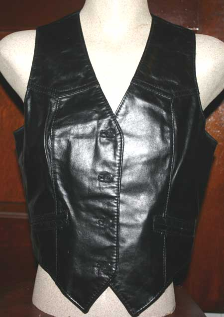 Vintage Bermans Ladies Biker Black Leather Vest Sz 8