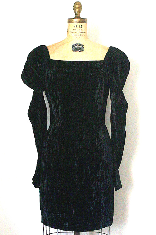 Vintage RARE Betsey Johnson Black Velvet Dress S/M