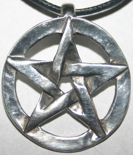 Lovely Pewter Pentagram Pendant on Black Cord