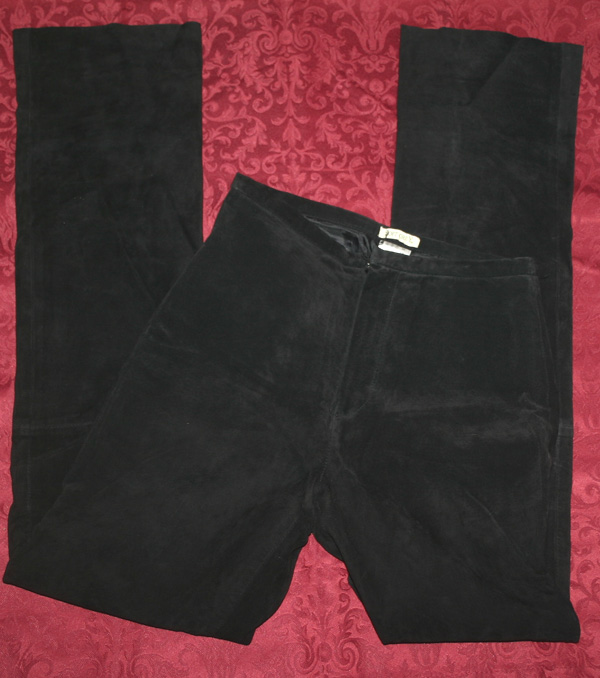 Black Soft Suede Leather Bootcut Pants Size 2