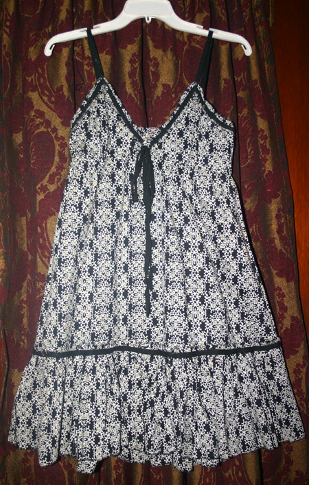 Vintage Black White Cotton Bohemian Peasant Dress S