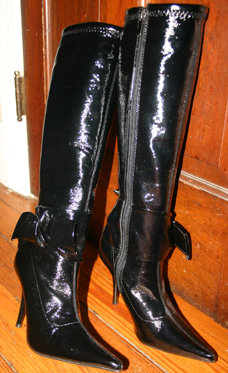 Black Shiny Knee Hi Stretch Stiletto Knee Boots 7