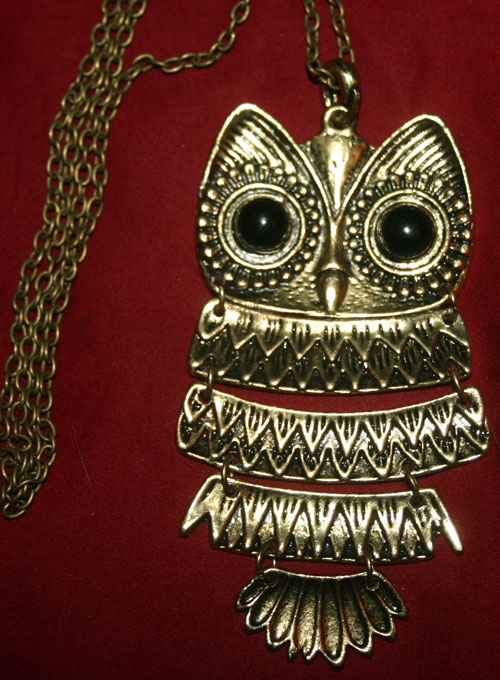 Retro Look Brass Owl Pendant Necklace