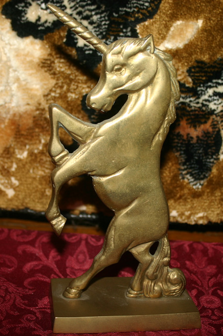 Vintage Solid Brass Large Unicorn Bookend Statue