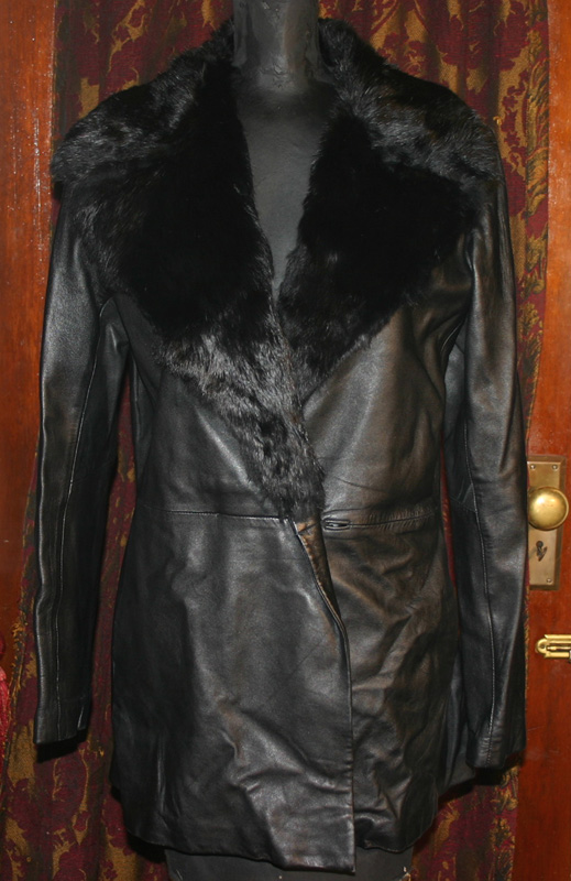 Vintage Black Leather Jacket Rabbit Fur Collar Sm Medium