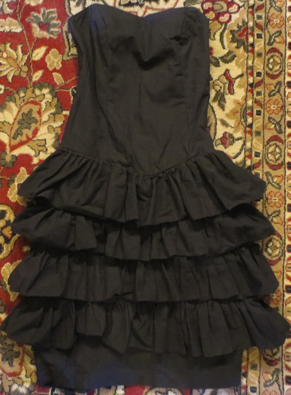 Vintage 80s Black Strapless Ruffle Cocktail Dress S 4