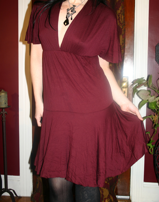 Lovely Burgundy Flutter Sleeve Dress Small