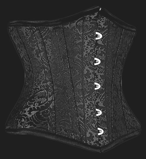 Gothic Black Brocade Steel Boned Underbust Corset 22