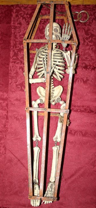 Huge Caged Skeleton Steampunk Halloween Prop Decoration