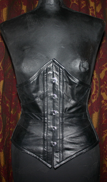 Vintage Black Leather Steel Boned Underbust Corset Small