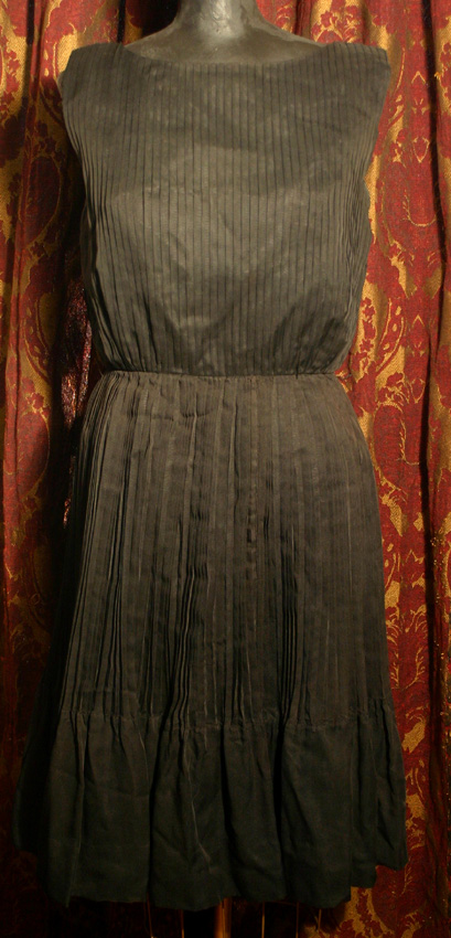 Vintage 1950s PinUp Black Pleated Party Dress Sm Medium
