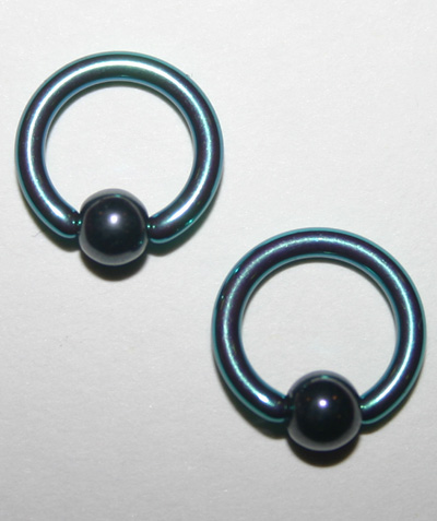 Pair Mini Captive Bead Rings 14 Gauge Titanium Green