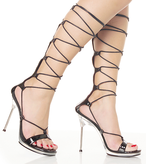 4.5 Inch Black Patent Lace Up Sexy Fetish Heels