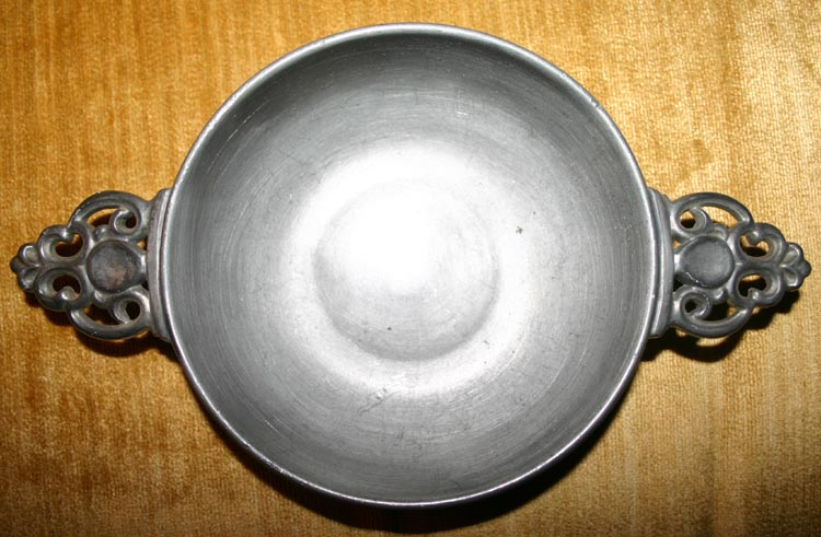 Vintage 20s 30s Colonial Pewter Porringer Bowl 2 Handles