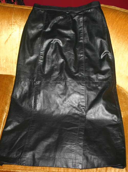 Vintage Long Fitted Soft Black Leather Sexy Skirt 7/8