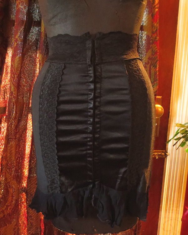 Vintage PinUp Corset Training Black Girdle Mini Skirt XS
