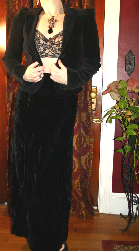 Vintage Gothic Black Long Velvet Skirt Small