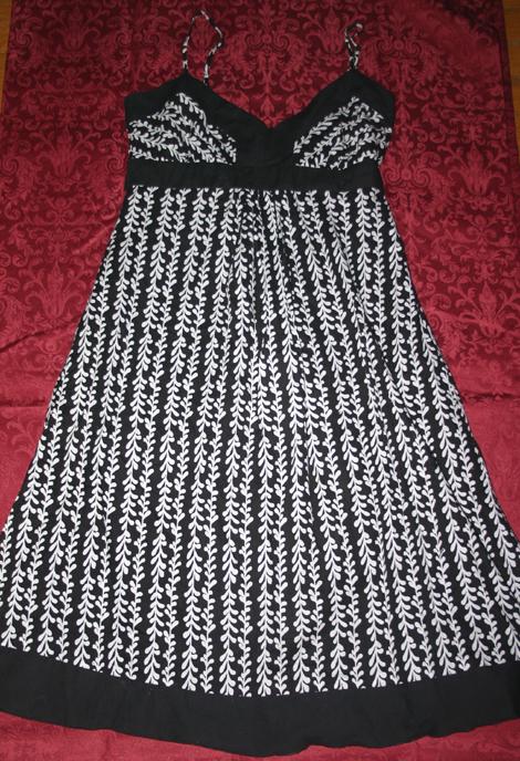 Bohemian Black White Cotton Summer Dress Sz 7