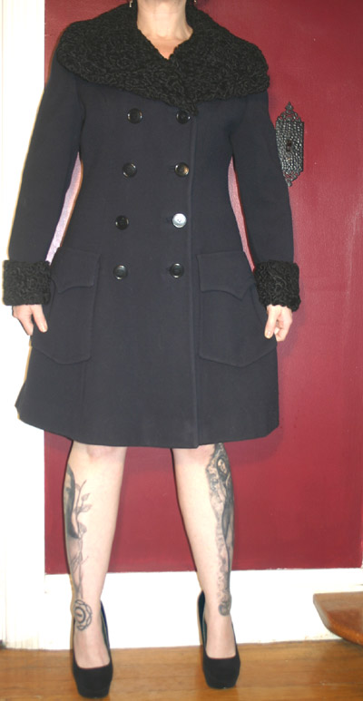 Vintage 1950s Persian Curly Lamb Collar Pea Coat S/M