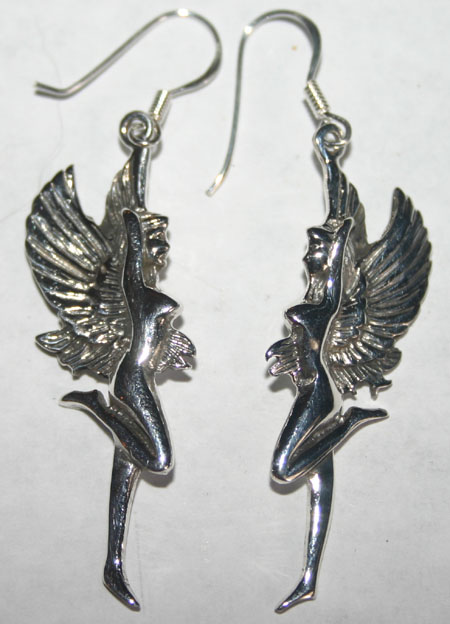 Sterling Silver Nude Goddess Fairy Earrings