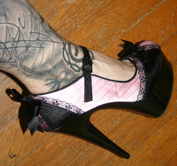 Platform 6 Inch Pink Black Satin Lace Pinstripe Bow Heels