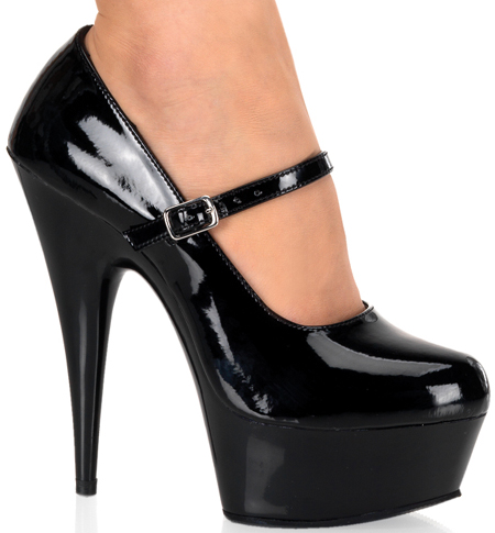 Fetish Black 6 Inch Mary Jane Platform High Heels
