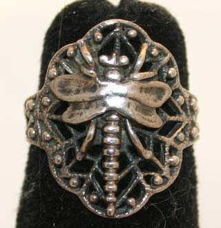 Wiccan Sterling Silver Dragonfly Ring