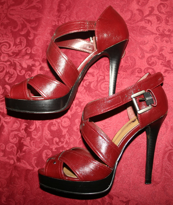Dark Red Strappy Peep Toe High Heels Pumps 6.5