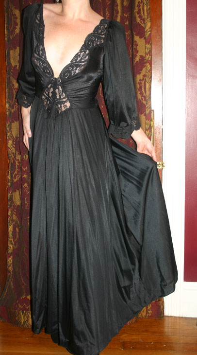 Vintage Olga Sexy Black Gothic Nightgown Dress Small