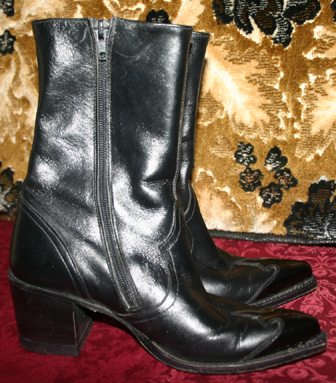 Vintage 90's Black Leather Ladies Western Ankle Boots 6.5