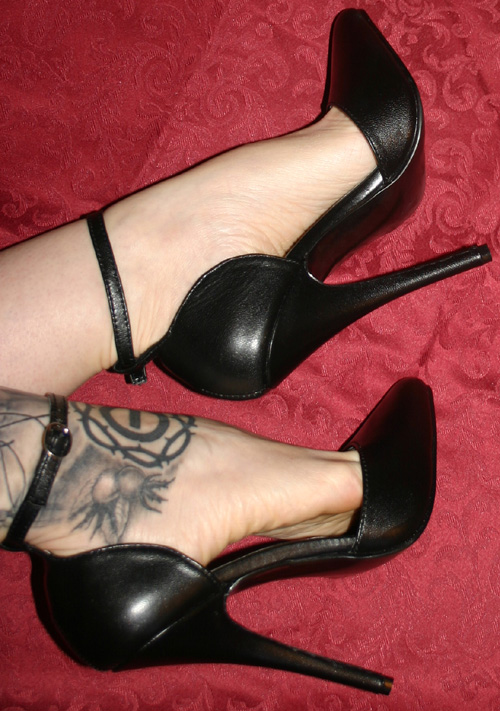 Fetish 6 Inch Black Real Leather Scyscraper Heels Sz 7