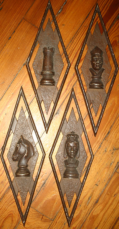 Vintage Set of 4 Chess Piece Wall Hangings