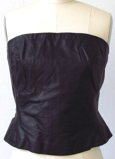 Vintage Fetish Black Leather Corset Bustier Strapless Top S/M
