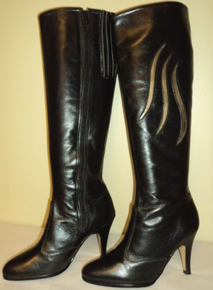 Vintage Knee Black Leather High Heel Boots 6.5