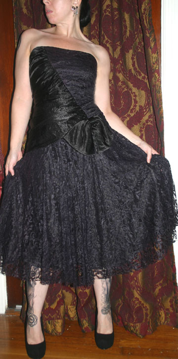 Vintage Gothic Black Lace Satin Strapless Party Dress