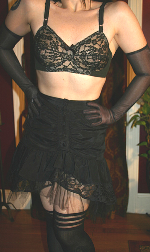 Vintage Sexy Pin-Up Black Lingerie Mini Skirt XS-S