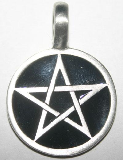 Black Enamel Pewter Pentagram Pendant