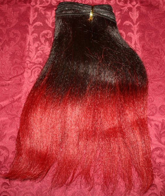 Human Hair Black & Burgundy Hair Weft Extensions