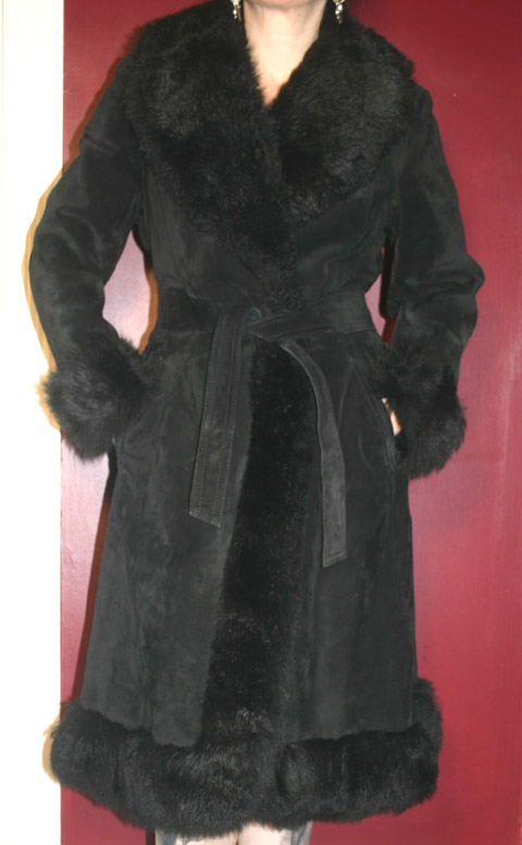 Vintage Gothic Black Suede Leather Fur Coat S/M