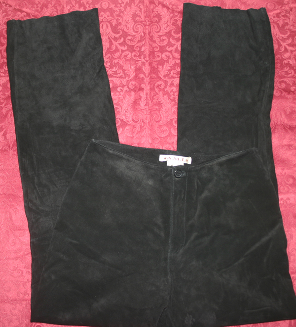 A.M.I. Black Soft Suede Leather Bootcut Pants Size 4